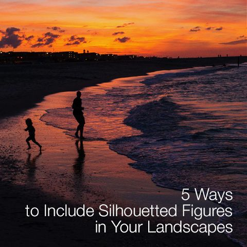 Silhouetted figures in landscapes