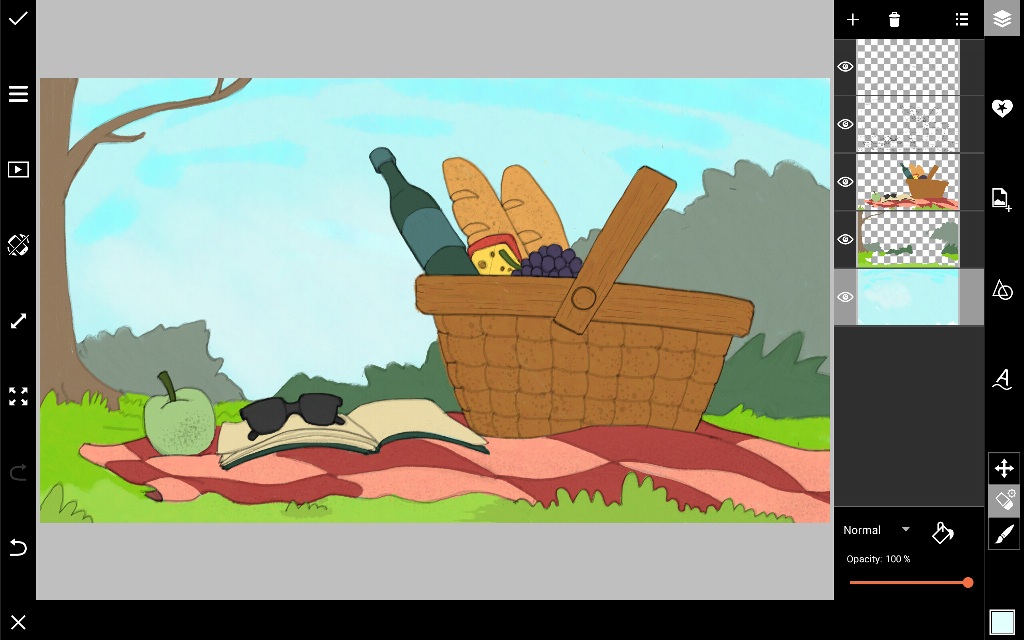 how to draw a picnic scene