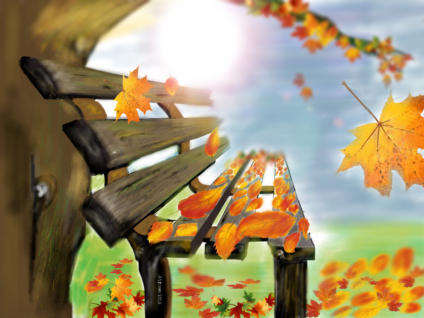 #dcleaf hey guys my first art piece for the dc leaf - drawn by hands on iphone 5s .. Original work .. Plz like and share and also vote thanks 👍☺️😊😊. #art #beach #park #autumn #leaves #bench #sun #view #interesting