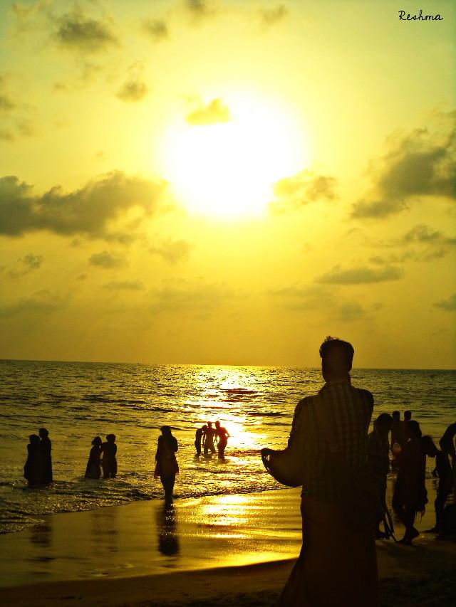 #reflection #beach #beachphotography #people  #kerala